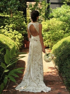 Sheath/Column Lace Sleeveless Sweep/Brush Train Wedding Dresses
