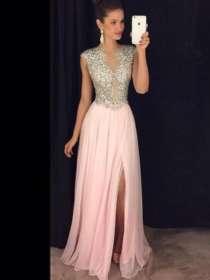A-Line/Princess Sequin Sleeveless Chiffon Floor-Length Dresses