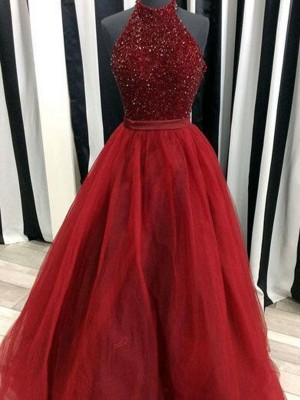 Ball Gown Organza Sleeveless Beading Floor-Length Dresses