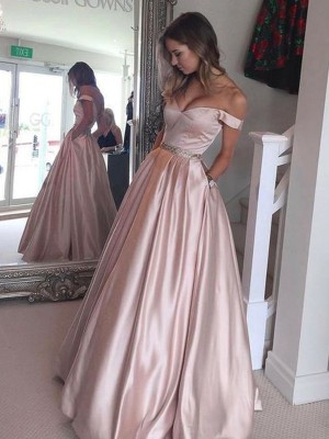 A-Line/Princess Satin Sleeveless Floor Length Dresses