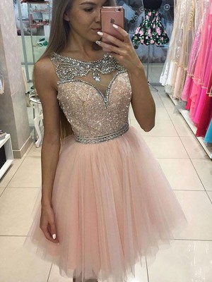 A-Line/Princess Tulle Sleeveless Beading Short/Mini Dresses