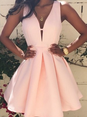 A-Line/Princess Satin Sleeveless Short/Mini Dresses