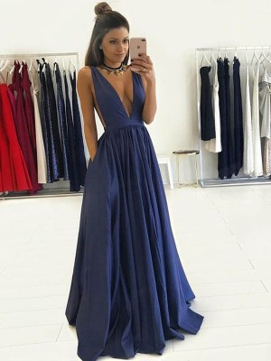 A-Line/Princess Taffeta Sleeveless Floor-Length Dresses