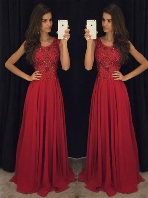 A-Line/Princess Chiffon Sleeveless Floor Length Beading Dresses