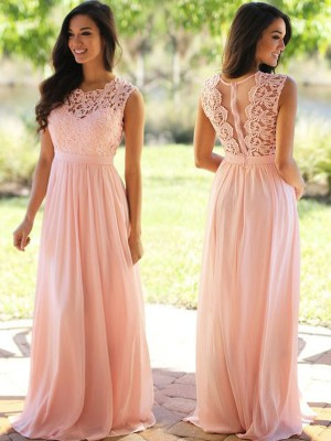 A-Line/Princess Chiffon Applique Floor-Length Sleeveless Dresses