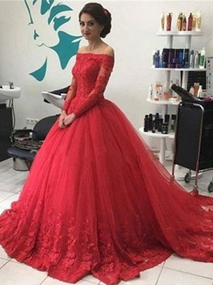Ball Gown Tulle Long Sleeves Lace Court Dresses