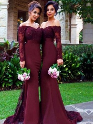 Trumpet/Mermaid Satin Long Sleeves Sweep/Brush Train Bridesmaid Dresses