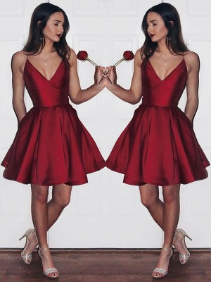 A-Line/Princess Satin V-neck Sleeveless Short/Mini Dresses