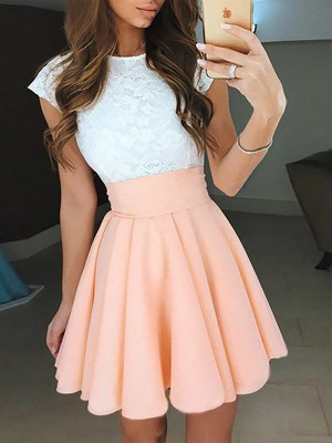 A-Line/Princess Chiffon Jewel Sleeveless Lace Short/Mini Dresses