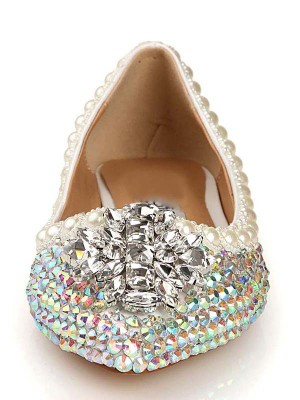 Women's Closed Toe Patent Leather Flat Heel With Diamond Flat Shoes