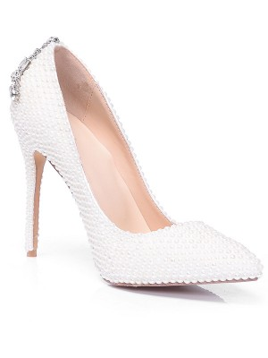 Women's Closed Toe Patent Leather Stiletto Heel With Pearl Rhinestone High Heels