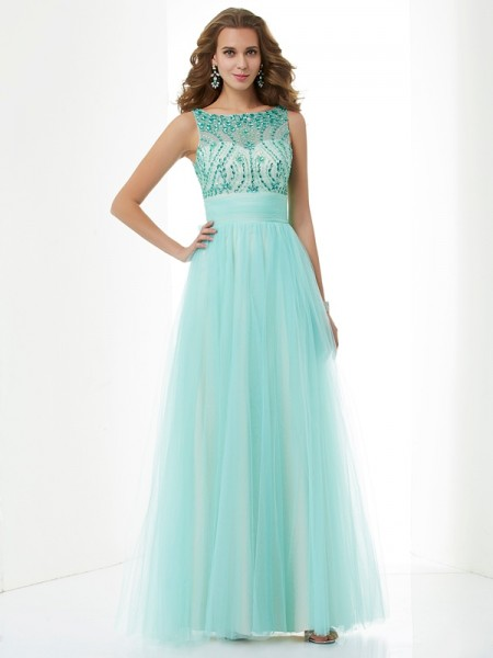 A-Line/Princess Elastic Woven Satin Beading Bateau Sleeveless Floor-Length Dresses