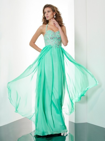 A-Line/Princess Beading Halter Sleeveless Chiffon Sweep/Brush Train Dresses