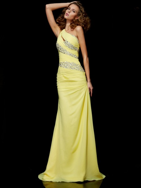 Sheath/Column Chiffon One-Shoulder Beading Sweep/Brush Train Sleeveless Dresses
