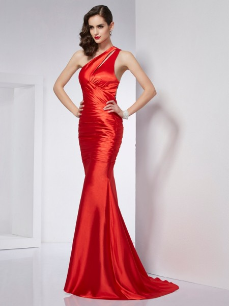 Sheath/Column Elastic Woven Satin Beading One-Shoulder Sleeveless Sweep/Brush Train Dresses