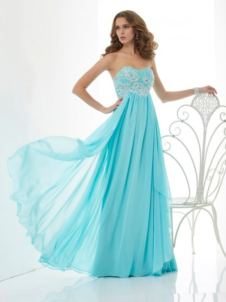 A-Line/Princess Chiffon Beading Sweetheart Floor-Length Sleeveless Dresses