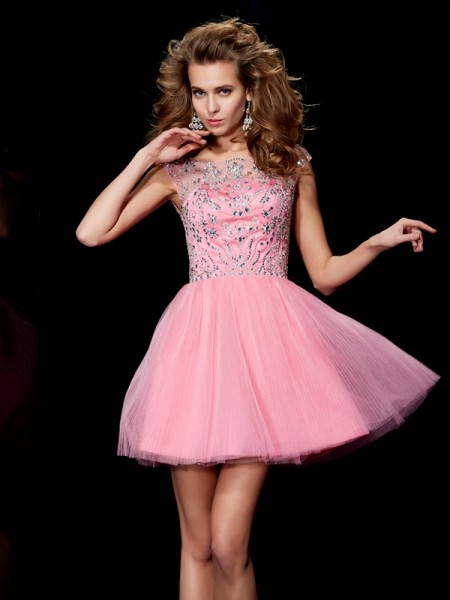 A-Line/Princess Satin Bateau Beading Short/Mini Sleeveless Dresses