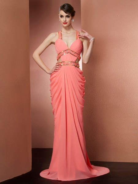 A-Line/Princess Halter Beading Chiffon Sweep/Brush Train Sleeveless Dresses