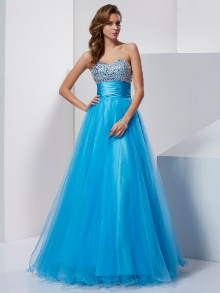 A-Line/Princess Sweetheart Tulle Beading Floor-Length Sleeveless Dresses