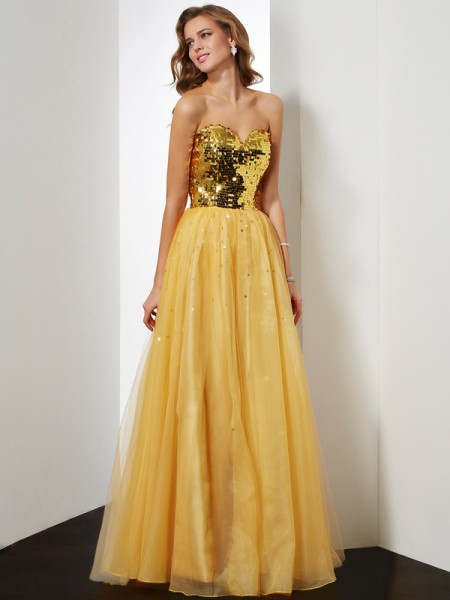 Ball Gown Sweetheart Organza Sleeveless Sequin Floor-Length Dresses