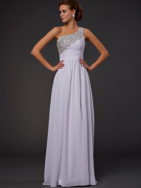 Sheath/Column One-Shoulder Chiffon Sleeveless Floor-Length Beading Dresses