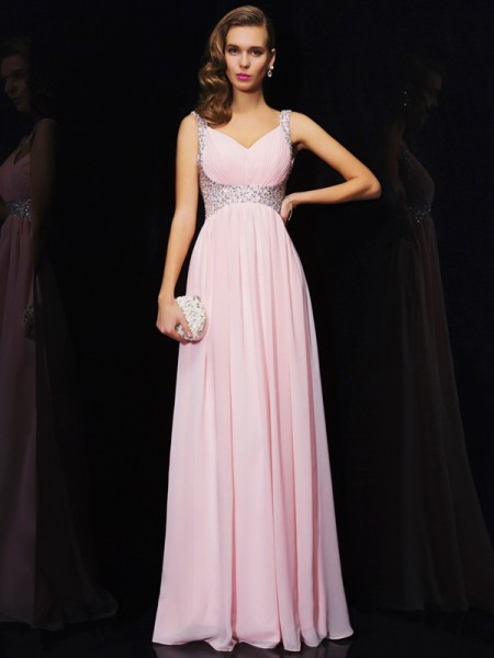 A-Line/Princess Beading V-neck Sleeveless Chiffon Floor-Length Dresses