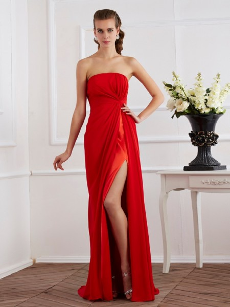 Sheath/Column Chiffon Pleats Strapless Floor-Length Sleeveless Dresses