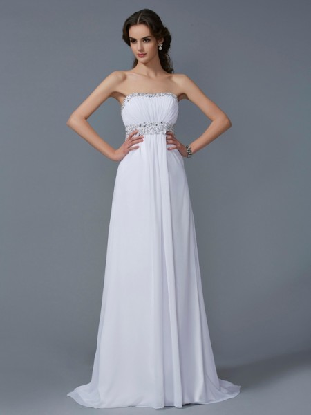 A-Line/Princess Chiffon Strapless Sleeveless Beading Sweep/Brush Train Dresses