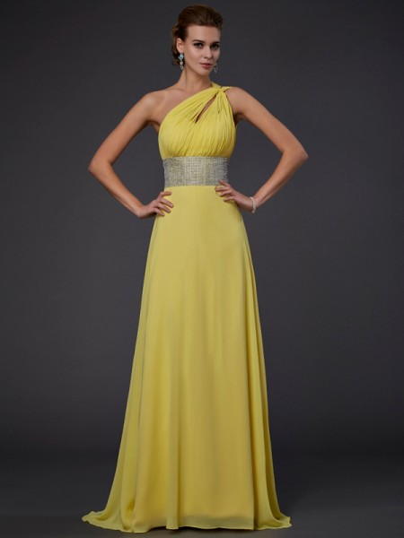 A-Line/Princess One-Shoulder Beading Chiffon Floor-Length Sleeveless Dresses
