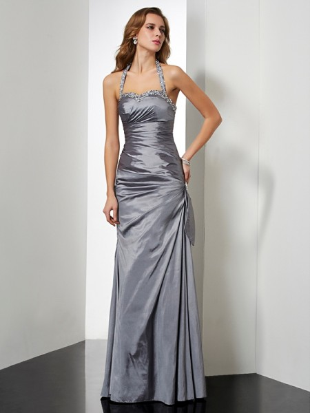Trumpet/Mermaid Taffeta Beading Halter Sleeveless Floor-Length Dresses