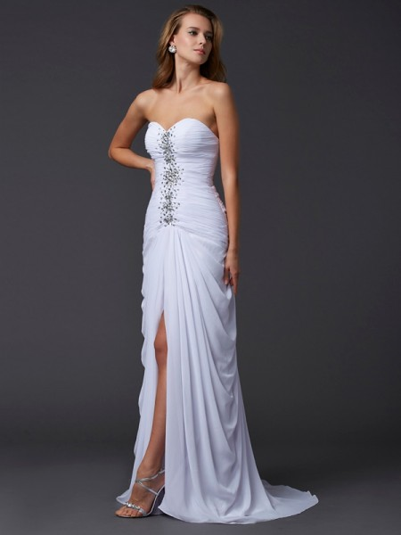 Sheath/Column Chiffon Sweetheart Beading Sweep/Brush Train Sleeveless Dresses