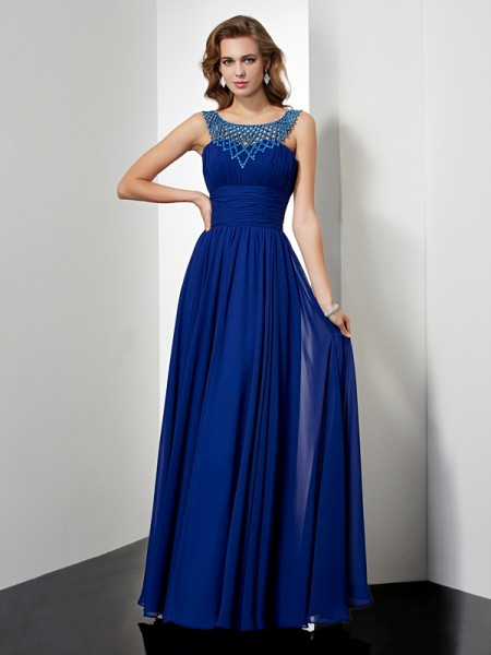 Empire High Neck Sleeveless Beading Chiffon Floor-Length Dresses