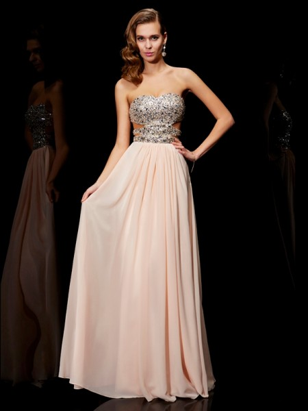 A-Line/Princess Chiffon Sweetheart Sleeveless Floor-Length Rhinestone Dresses