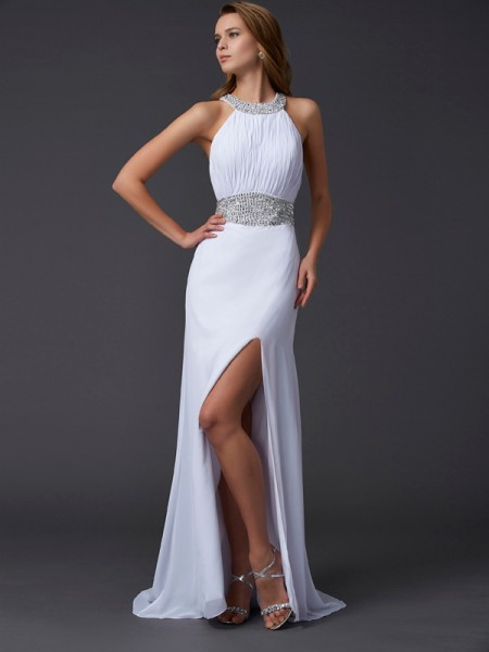 A-Line/Princess Scoop Chiffon Sleeveless Sweep/Brush Train Beading Dresses