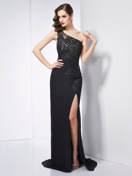 Sheath/Column One-Shoulder Chiffon Sweep/Brush Train Applique Sleeveless Dresses