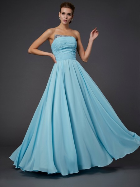Sheath/Column Strapless Sleeveless Beading Chiffon Floor-Length Dresses