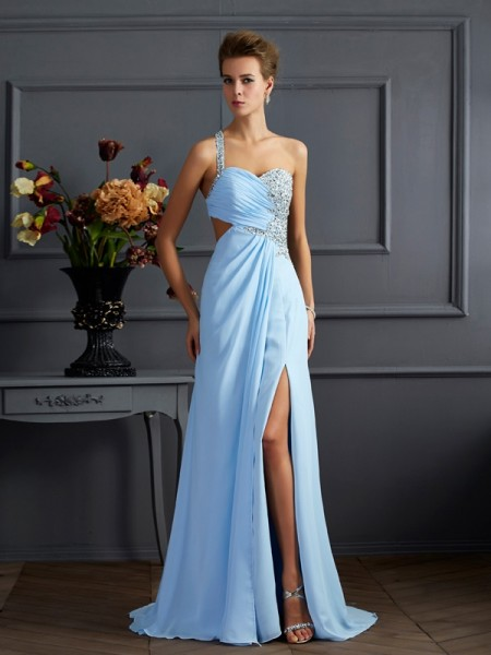 Sheath/Column One-Shoulder Chiffon Beading Sweep/Brush Train Sleeveless Dresses
