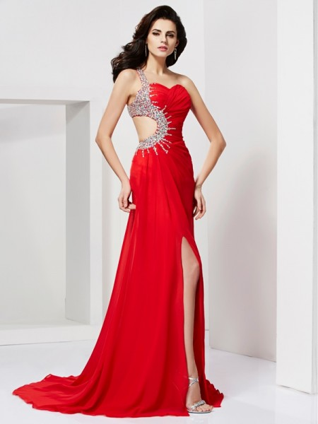 Trumpet/Mermaid Chiffon Beading Sweetheart Sweep/Brush Train Sleeveless Dresses