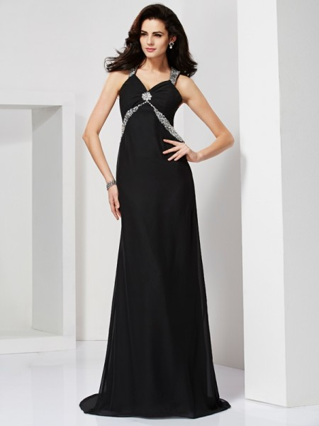 Sheath/Column Chiffon Straps Sleeveless Beading Sweep/Brush Train Dresses
