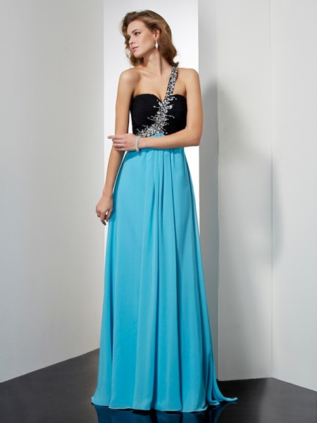 A-Line/Princess Chiffon One-Shoulder Beading Floor-Length Sleeveless Dresses