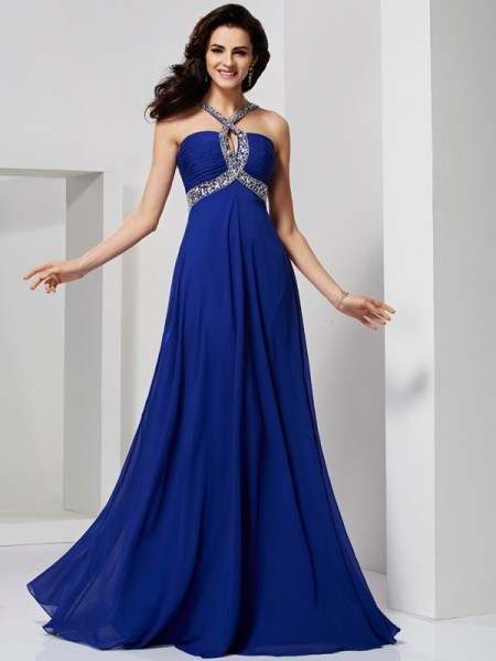 A-Line/Princess Beading Sleeveless Chiffon Sweep/Brush Train Dresses