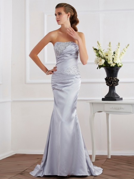 Trumpet/Mermaid Elastic Woven Satin Beading Strapless Sleeveless Sweep/Brush Train Dresses