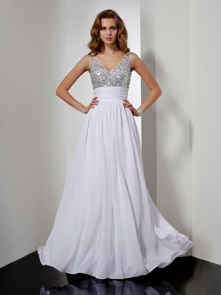 A-Line/Princess Chiffon Rhinestone V-neck Sleeveless Floor-Length Dresses