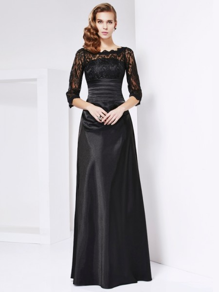 Sheath/Column Elastic Woven Satin Off-the-Shoulder 3/4 Sleeves Floor-Length Lace Mother of the Bride Dresses