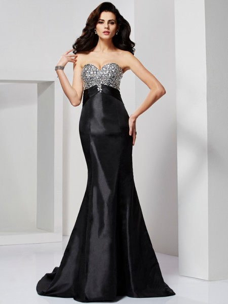 Trumpet/Mermaid Sweetheart Taffeta Beading Sweep/Brush Train Sleeveless Dresses