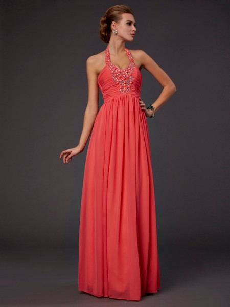 A-Line/Princess Halter Chiffon Beading Sleeveless Floor-Length Dresses