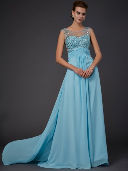A-Line/Princess Scoop Beading Chiffon Sweep/Brush Train Sleeveless Dresses