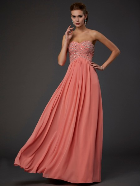 A-Line/Princess Sweetheart Chiffon Sleeveless Beading Floor-Length Dresses