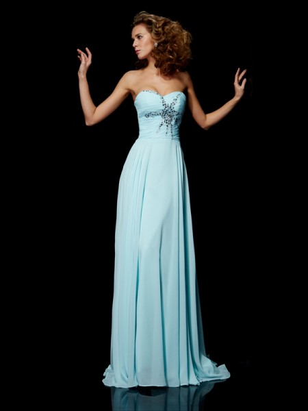 Sheath/Column Sweetheart Chiffon Beading Sweep/Brush Train Sleeveless Dresses