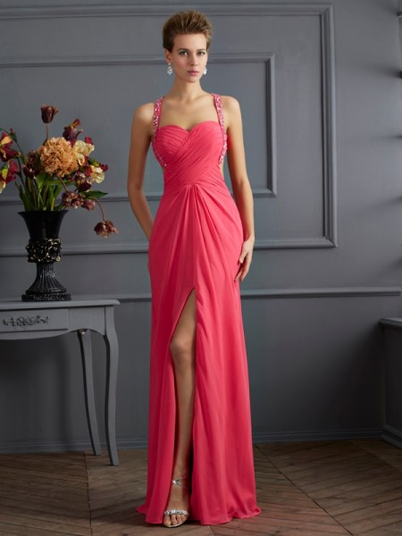 Empire Sweetheart Chiffon Sleeveless Beading Floor-Length Dresses